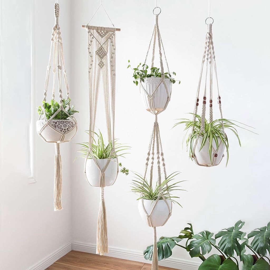 علاقة نباتات مكرميه ، 4 عبوات ، تصاميم مختلفة ، صناعة يدوية ، داخلية ، حائط ، حامل نباتات-Boh حديث