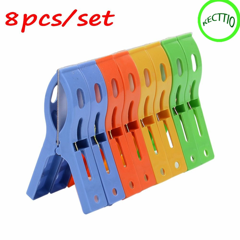 NEW arrival 8PCS Utility Large Bright Colour clothes Clip Plastic Beach Towel Pegs clothespin Clips to Sunbed Drop shipping 16x2 4cm 4 packs large clothespin spring clip color plastic clothes quilt household daily use