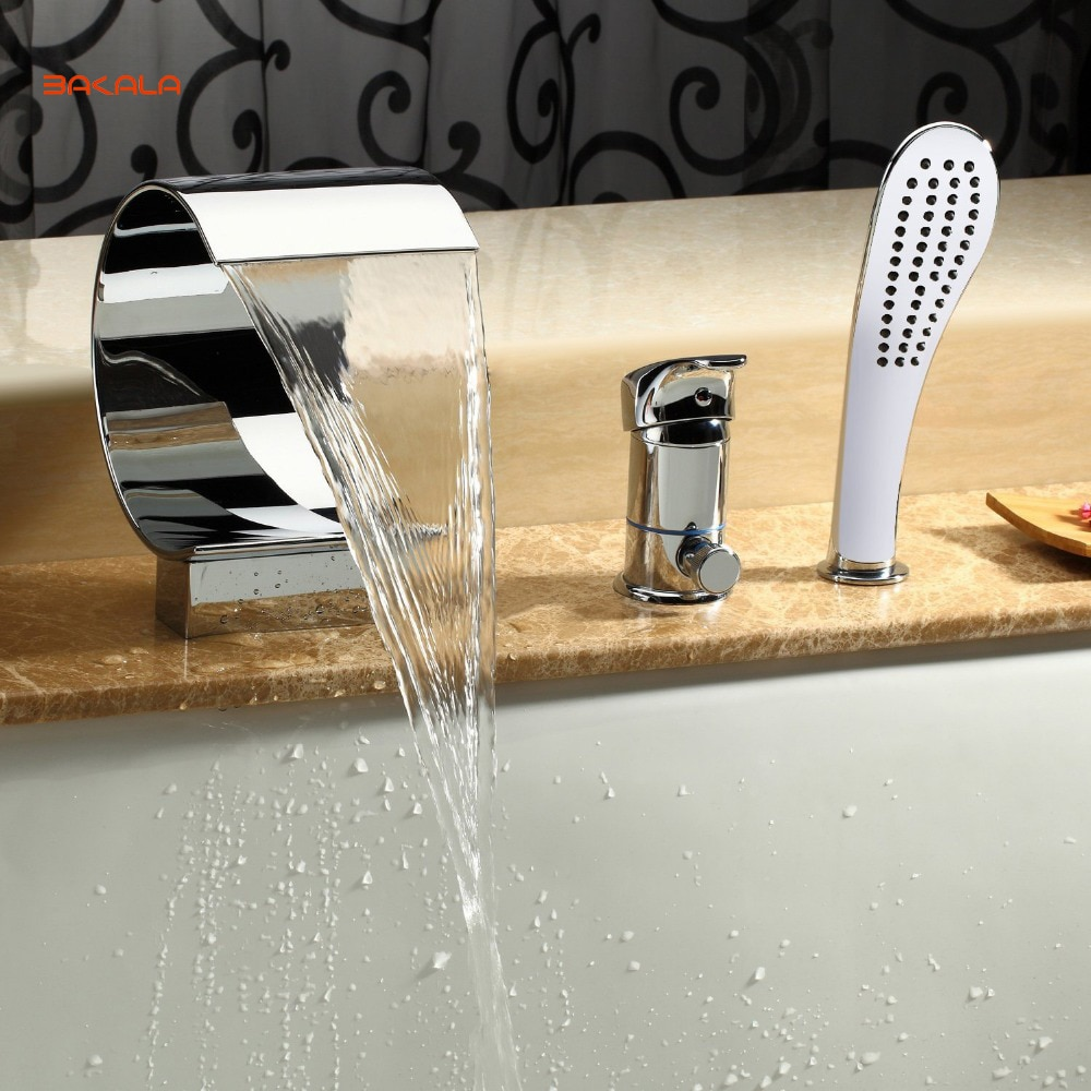 Grifo de cascada para bañera BAKALA con montaje en cubierta de rociado amplio con ducha de mano, accesorios de fontanería cromada, recipiente de pico alto Curvo