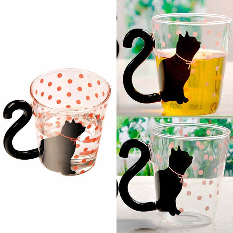 Lindo Creativo Gato Leche Taza De Café Agua Vidrio Taza Jarro De Té Taza De Dibujos Animados Taza Para El Hogar Y La Oficina Para Jugo De Fruta Tazas De Café Aisladas Tazas