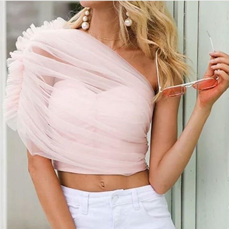 Mode nouveau rose Tulle femmes Top une épaule volants hauts sur mesure femme gilet recadrée Feminino Tnak 2019 haut court