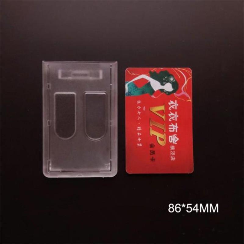 Vertical PC Matte Hard Plastic ID Credit Card Badge Holder Double Cover Pocket Bus Card Case Border Lanyard Holes