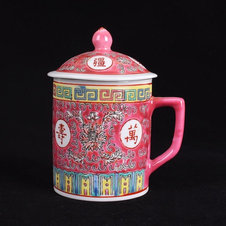 Традиционная китайская керамическая синяя и белая фарфоровая чашка Цзиндэчжэнь красная/синяя/Желтая Чашка для чая с крышкой посуда для напитков 300 мл