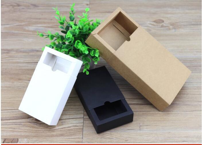 150 unids/lote papel marrón Kraft cajón cajas en blanco caja de transporte regalo Kraft cajones embalaje caja de cartón para pendientes/Collar