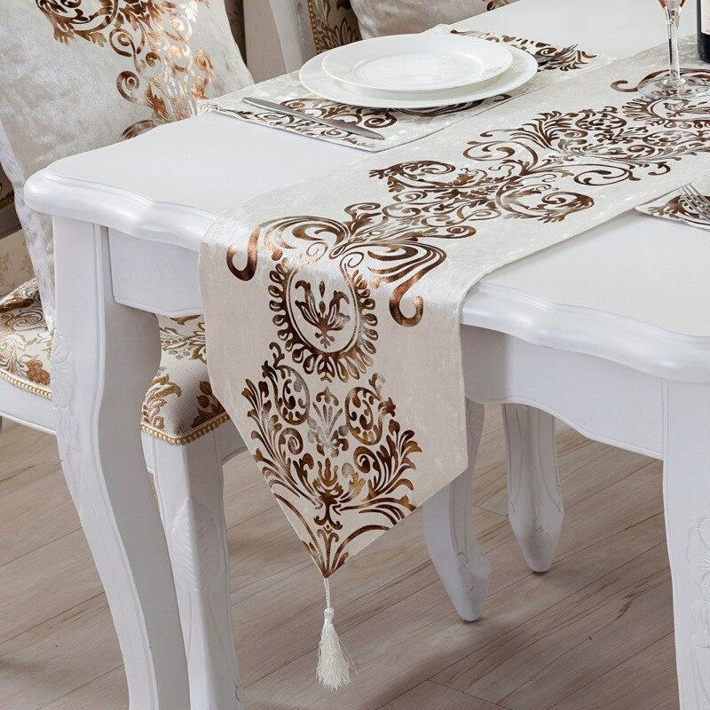 Estilo europeu bordado corredores de mesa de luxo moderno casamento festa decoração casa rendas pano mesa para jantar