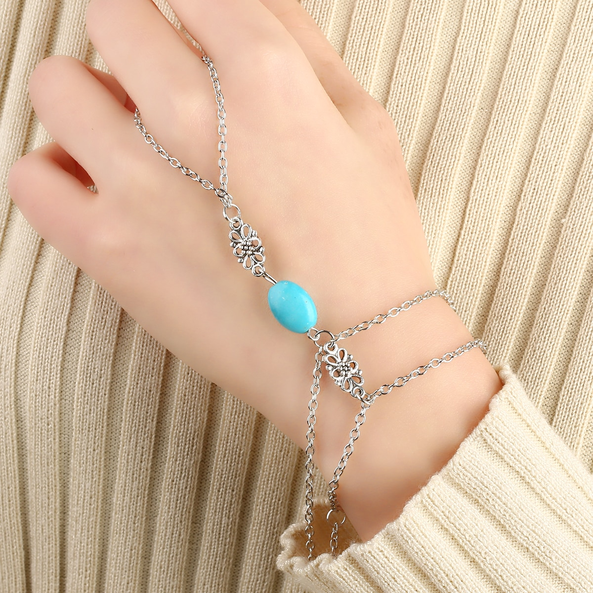 Pulsera de moda estilo bohemio para mujer, pulsera de cadena esclava con cuentas, anillo de dedo de piedra Natural, accesorios de joyería Boho para mujer