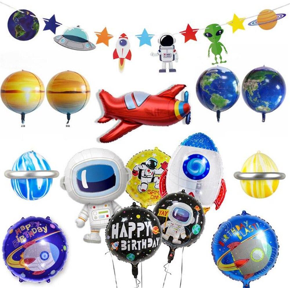 Dessin animé chapeau fusée astronaute feuille ballons bébé garçon super héros faveur jouets joyeux anniversaire fête chapeau