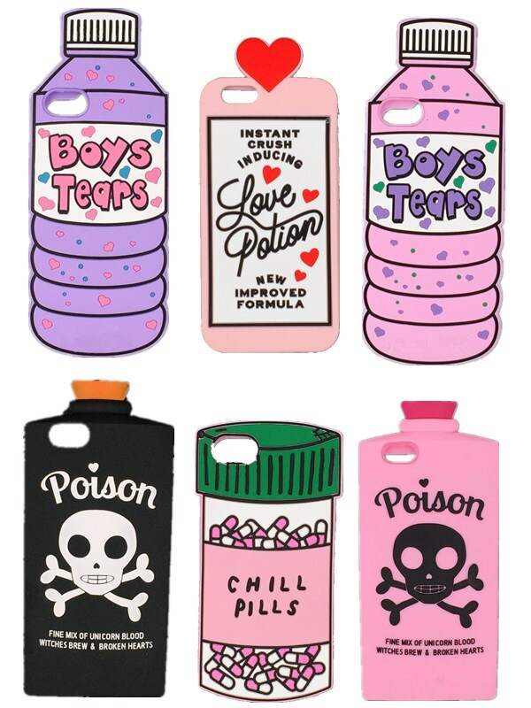 Новый 3D «Boys Tears» минеральная вода любовь зелье охладить таблетки бутылка яд чехол для Apple iPhone X 4 4S 5 5S 5C SE 6 6S Plus 7 8 Plus
