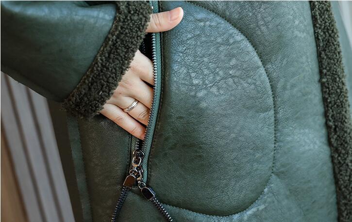HOT Women 2021 autumn and winter new Fashion thick long sheep shearing Fur coat women's Slim PU leather jacket fur outwear S-3XL enlarge