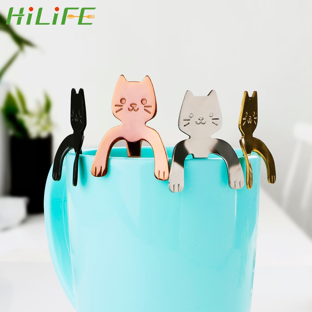 HILIFE Ice Cream Dessert Spoons Mini Drinking Tools Stainless Steel Tableware for Bar Party Cute Cat Teaspoons Tea Coffee Spoon