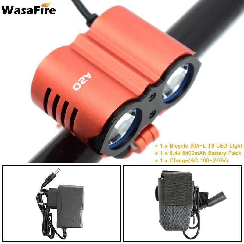 Wasafire NEW Bicycle Front Light XM-T6 Headlight 7000 Lumen LED Bike Light Lamp Headlamp +18650 Battery Pack 6400mAh/9600mAh