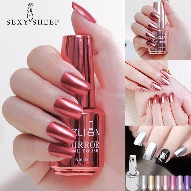 8/18ml Fashion Mirror Effect Metallic Nail Polish Purple Rose Gold Silver Chrome Nail Art Varnish For Nails Manicure Lacquer