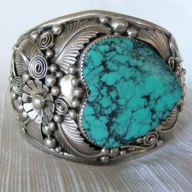 Anillos para dedo con forma de corazón con piedra azul Natural grande Vintage, anillos para nudillos con patrón bohemio Tribal tallado Z3X990