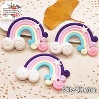 5pcs polymer clay hand made purple rainbow flatback cabochon miniature food art supply decoration charm craft diy