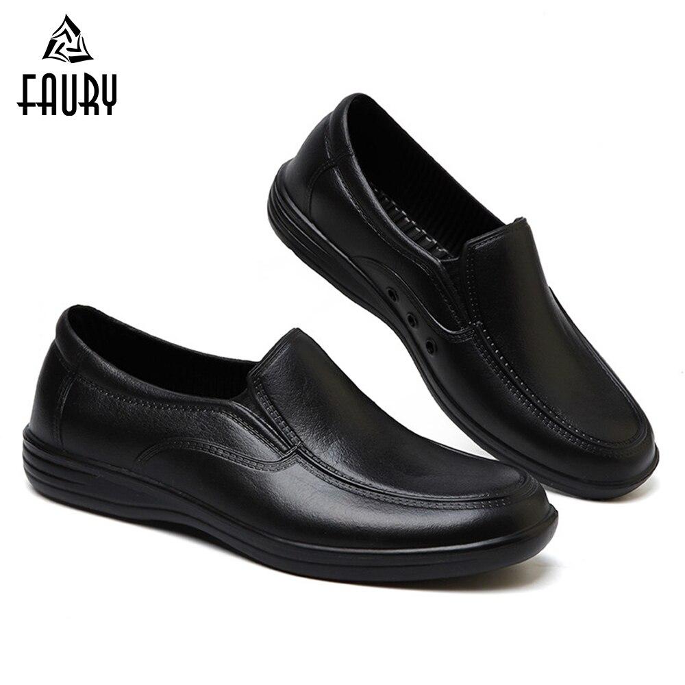 Zapatos antideslizantes de trabajo de Chef profesional para hombres, zapatos para cocinar, zapatos de seguridad negros, zapatos de cocina Unisex a prueba de agua aceite