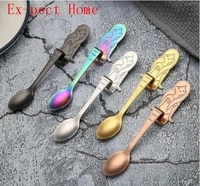 100pcs new style teaspoons stainless steel creative tea coffee spoon for cafe wedding hanging spoon