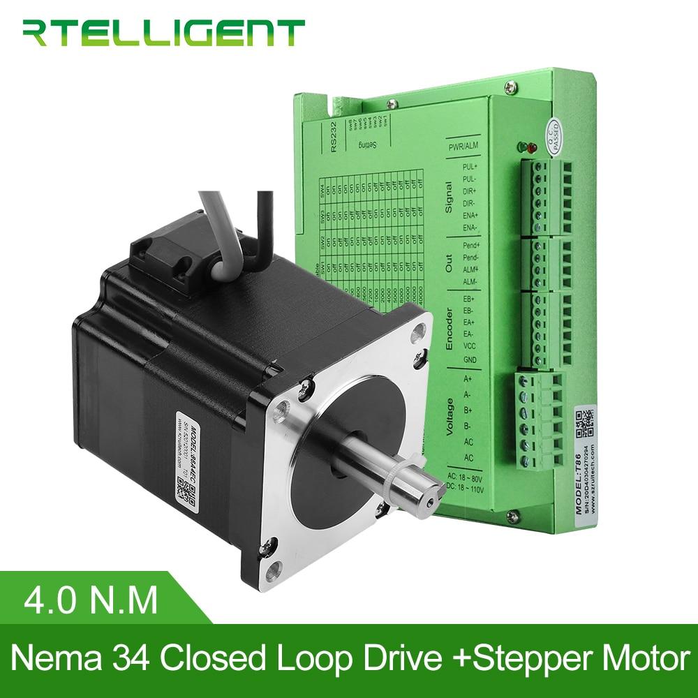 Rtelligent Nema 34 4.0N.M Closed Loop Stepper Motor with Nema34 20-50VDC Closed Loop Stepper Motor Driver Stepper Driver CNC Kit