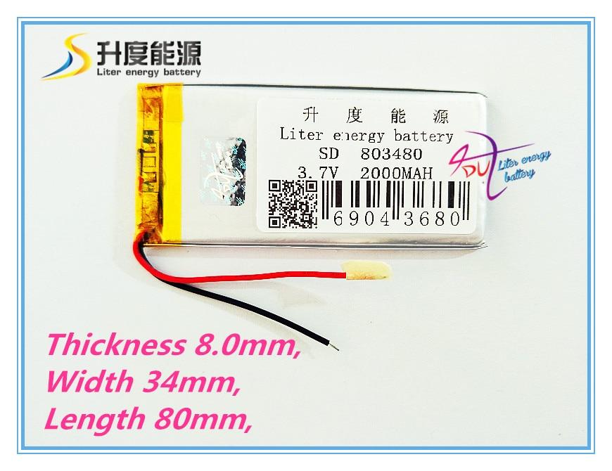 СД Подгонянный самый маленький литий-полимерный аккумулятор 803480 2000mAh