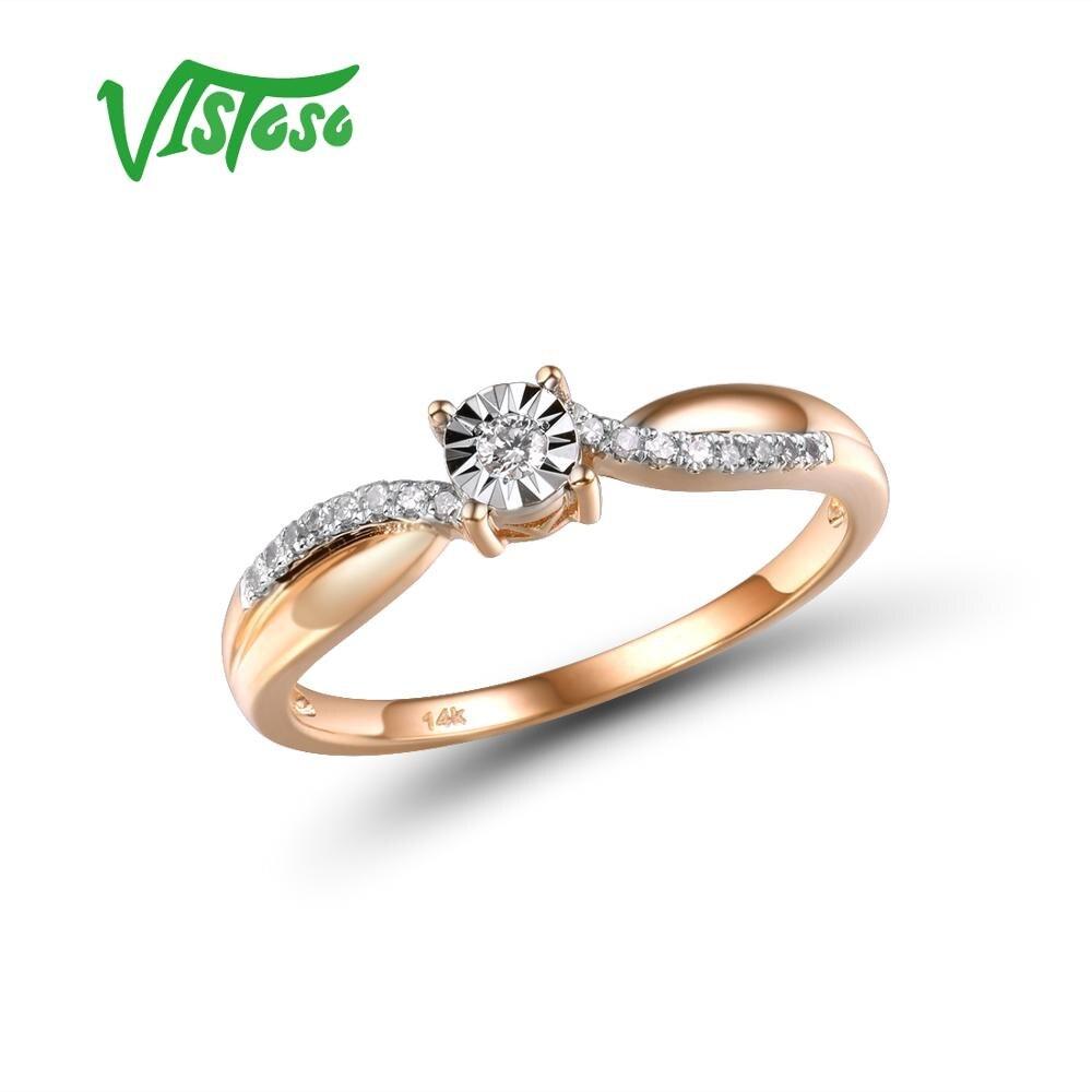 VISTOSO Pure 14K 585 bicolore or étincelant Illusion-Set plaque Miracle bague en diamant pour les femmes anniversaire à la mode Fine bijoux