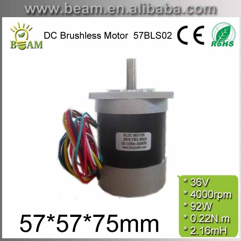 محرك BLDC برأس مربع ودائرة ، طول جسم المحرك بدون فرش ، 57 مللي متر ، 36V ، 92W ، 0.22 N.m ، 4000rpm ، 3 مراحل DC ، 75 مللي متر 57BLS02