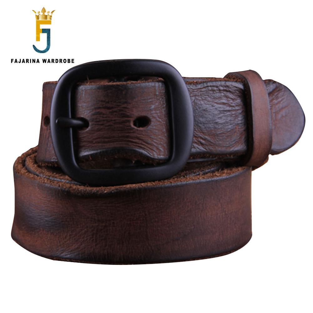 FAJARINA أعلى جودة الرجال شخصية جلد البقر مطوية جلد طبيعي أنماط الرجعية الغربية جلد البقر أحزمة للرجال N17FJ091