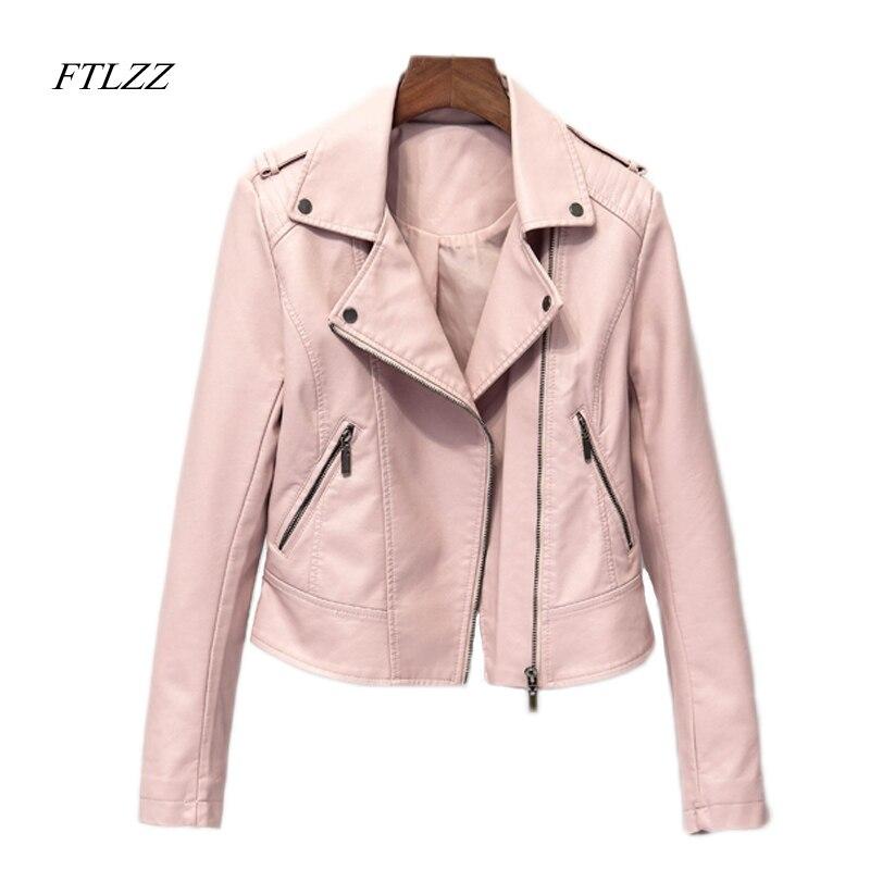 FTLZZ جديد السائق بو الجلود سترة النساء أزياء ضئيلة قصيرة تصميم أسود لينة سترة الشرير سحابات كل مباراة معطف