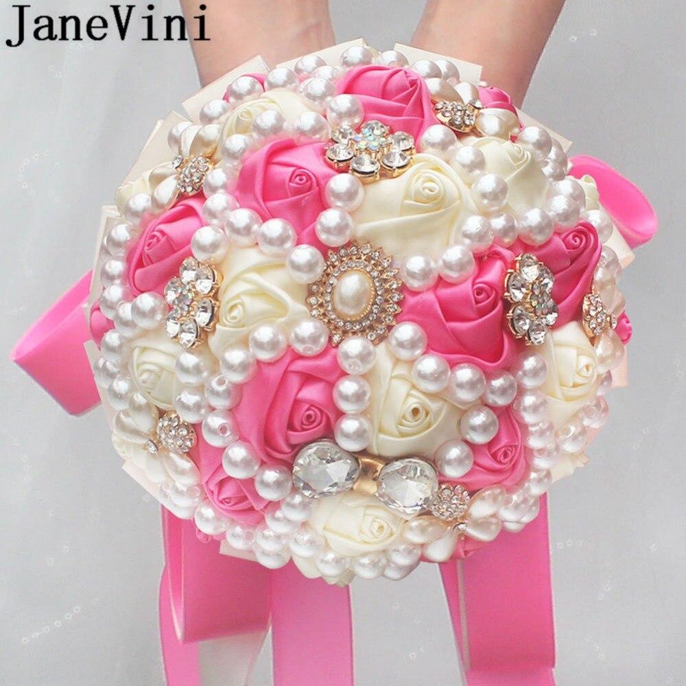 JaneVini-باقة زهور من الساتان الوردي للعروس ، باقات زفاف من الكريستال باللؤلؤ ، لوصيفات العروس