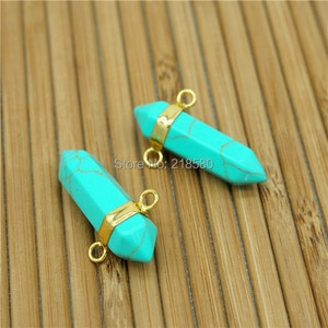 P15052101  Howlite Double Terminated Pendant Connector Gold Color Electroplated Bail-- Pencil Point Pendant