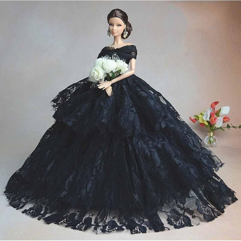 10PCS/LOT Wholesale Dolls Accessories Wedding Dress Dolls Black Elegant Princess Dress Doll 1/6