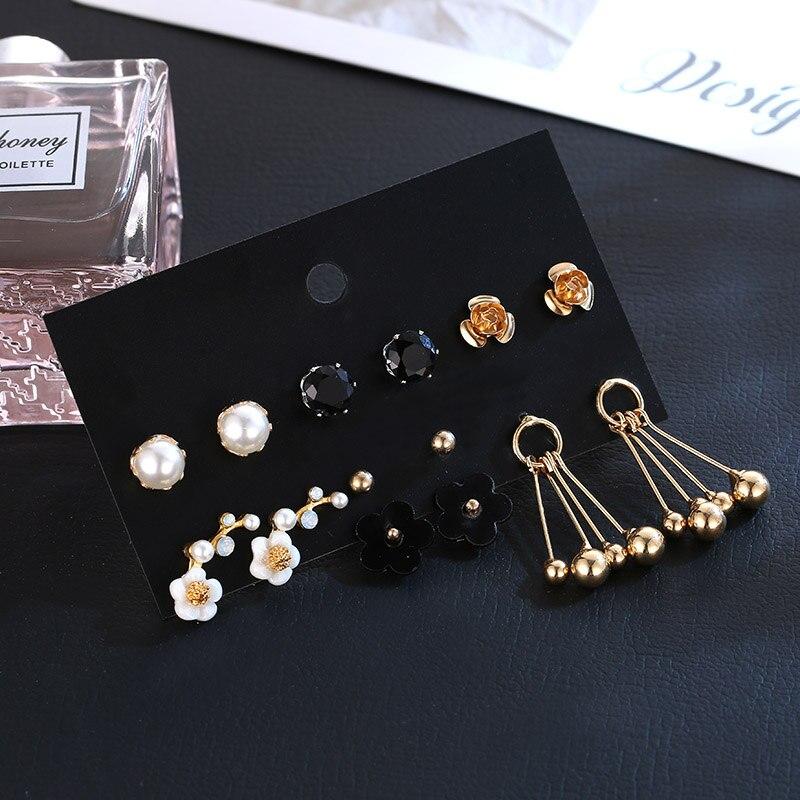 OATHYAN 6 par/set estilo coreano 2018 moda acrílico Metal flor Stud pendientes para las mujeres perla oro bola pendiente Set de joyería