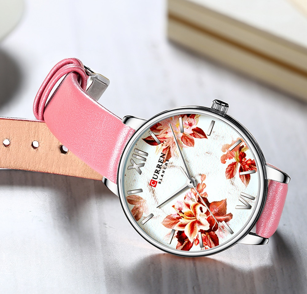 CURREN Women Fashion Pink Quartz Watch Flower Lady Leather Watchband High Quality Casual Waterproof Wristwatches Gifts For Wife enlarge