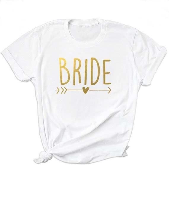 Bachelorette Bride Party Unisex Shirt Bride Squad Arrow Heart T-Shirt Feminine Slogan Women White Tops Girl Tees Couple Kawaii