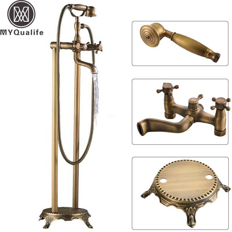 Bronze antigo dupla cruz alças torneira da banheira livre pé piso montagem do banheiro torneira da banheira filler com handshower