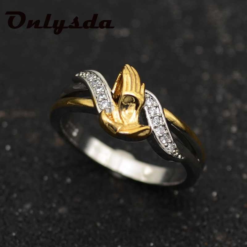 Женское кольцо Onlysda, белое циркониевое кольцо с двойным золотым наполнителем, подарки для мужчин и женщин OSR123