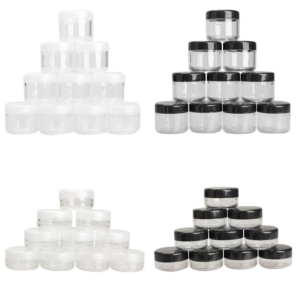 10 unidades/pacote vazio plástico claro frasco cosmético pote sombra maquiagem rosto creme recipiente mini caixa de amostra potes gel caixa 10/20g