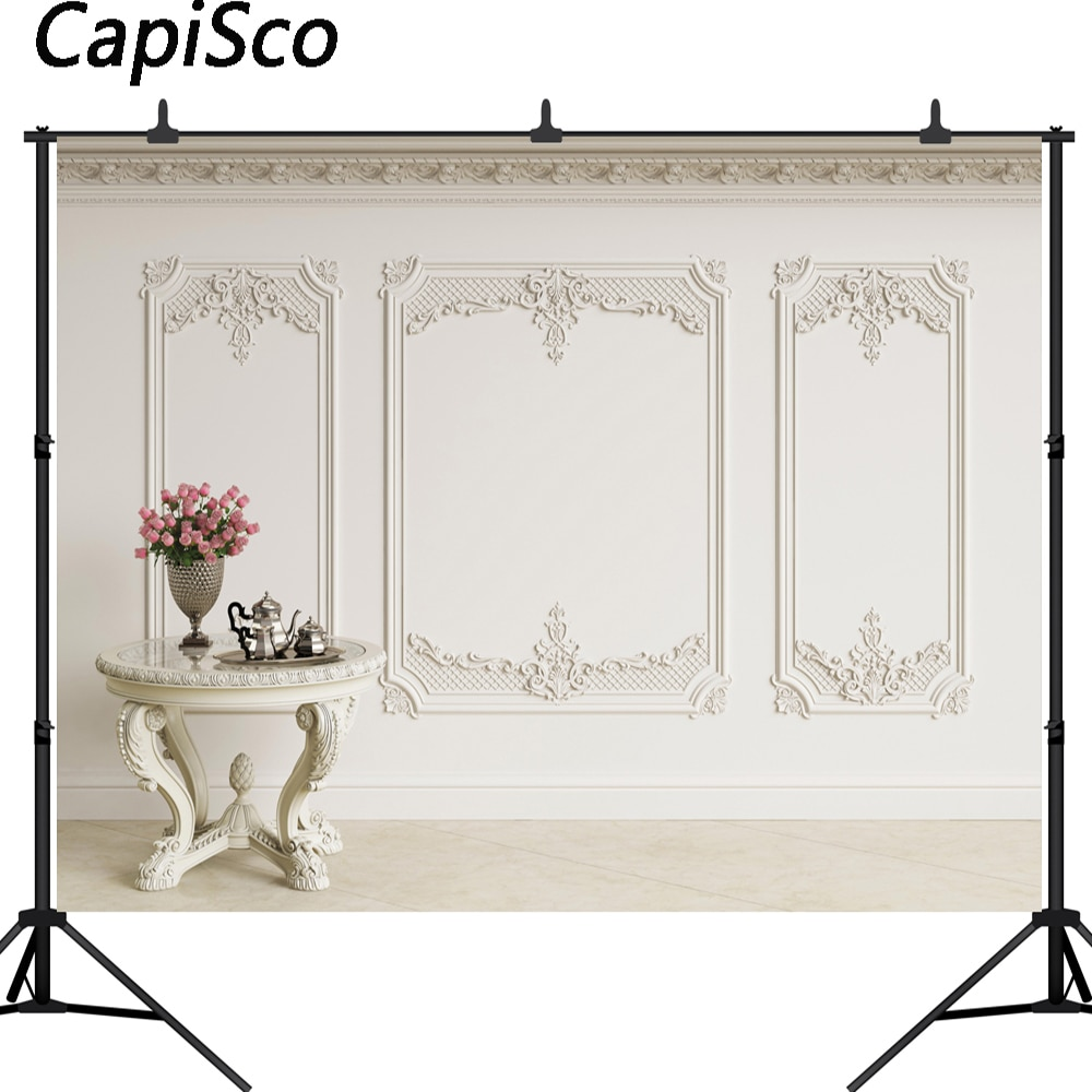 Capisco photography backdrop European style wall indoor romantic wedding table flower background photo studio camera fotografica