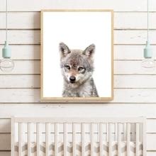 Bebé animales del bosque Poster para guardería pared arte impresiones de la lona bebé Lobo bosque Animal bebé foto de pintura de niños Pared de habitación Decoración