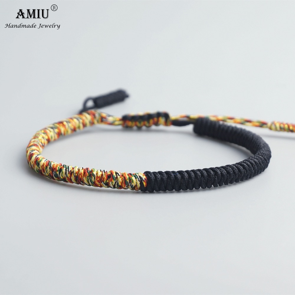 Pulseras y brazaletes tibetanos de amuleto de la suerte budista de AMIU para mujeres y hombres, pulsera de regalo de Navidad con nudos Vintage