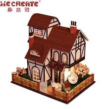 2017 nouveau modèle LED 3D en bois Miniatures trois couches fleur ville grande maison de poupée meubles bricolage jouets pour enfants cadeau de noël