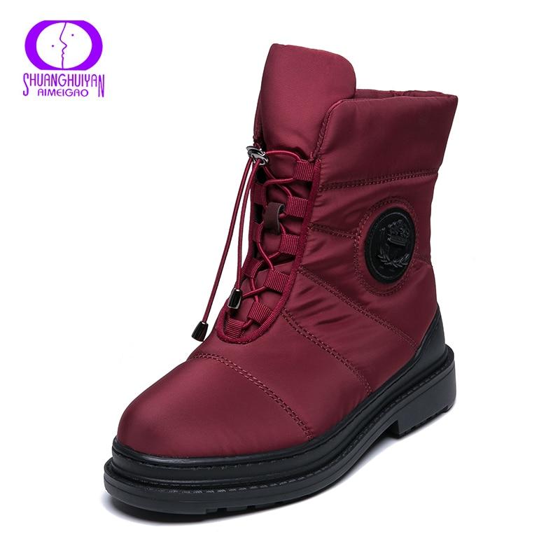 AIMEIGAO, botas de nieve de piel cálida de alta calidad, plantilla de felpa para mujer, botas impermeables con plataforma, tacones, botas de invierno negras rojas para mujer