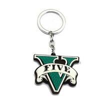 GTA5 porte-clés en caoutchouc Grand vol Auto cinq GTA 5 V Silicone vert porte-clés Double face porte-clés jeu bijoux