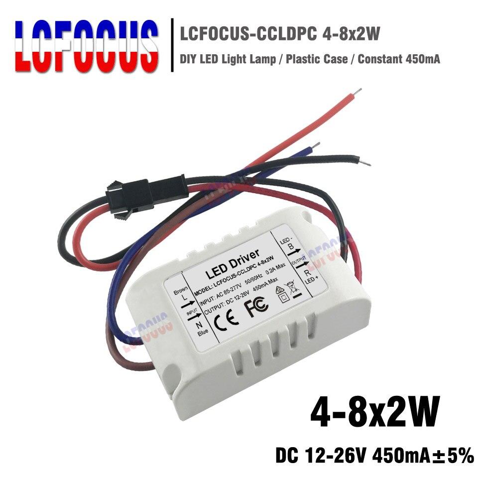 Transformador de iluminación de Controlador LED 4-8x2W corriente constante 450mA 12-26 V 8 10 12 14 16 W potencia de vatios suministro para foco de lámpara