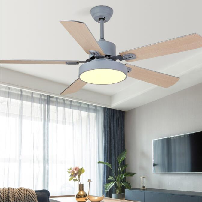 Nordic Ceiling Ceiling Fans 5 Blad Solid Wood Fan Ceiling Fans Lamps With Lights For Living Room hom