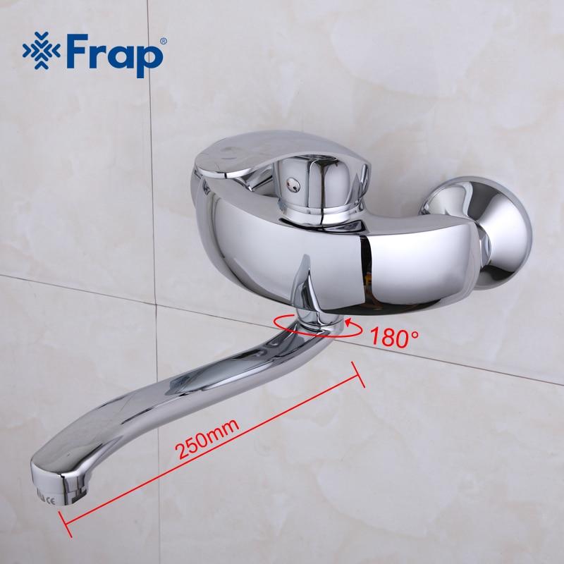 Frap خلاط مطبخ مياه ساخنة وباردة الحائط صنبور المطبخ غسالة صنبور 250 مللي متر خارج الأنابيب طول المياه الحنفية F4621