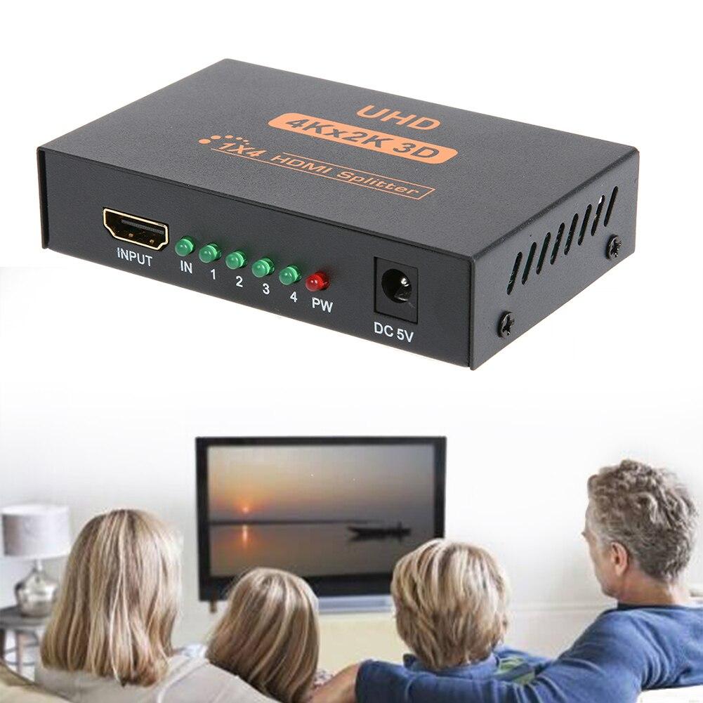 3D 1080p 1 en 4 HDMI Splitter 1X4 4 puerto Hdmi Hub repetidor amplificador 1,4 con potencia para USA de alta definición