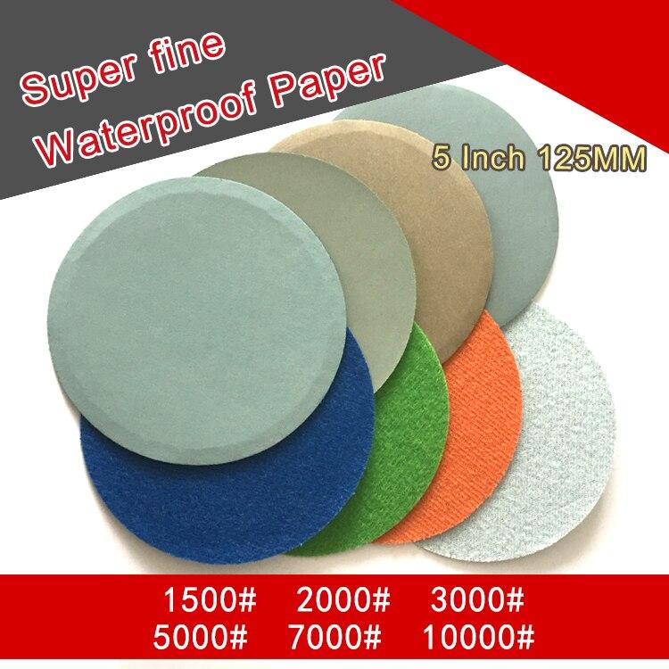 10 Uds. Papel lija abrasivo impermeable Flocado de 5 pulgadas 800 a 10000 grano autoadhesivo húmedo y seco para lijar el pulido
