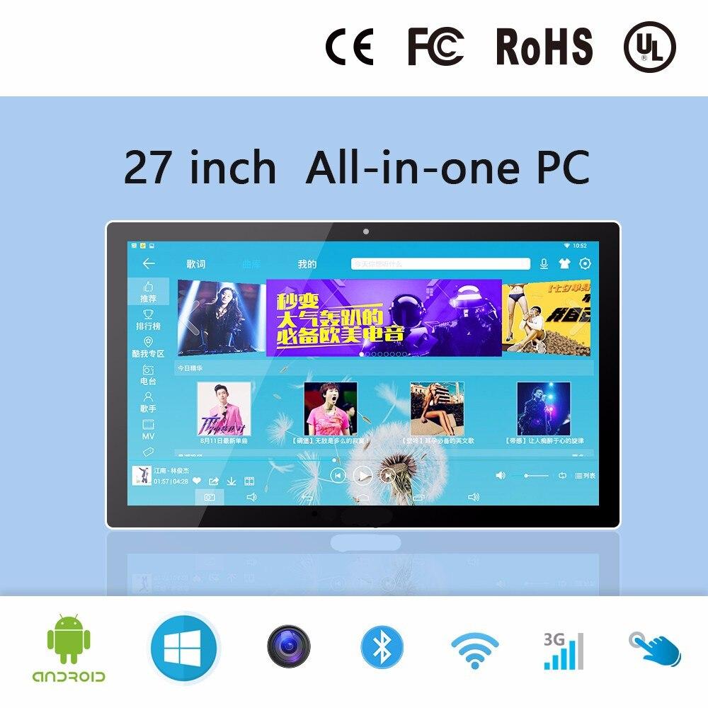 27 pulgadas todo en uno pc industrial ordenador pantalla táctil panel pc tableta pc