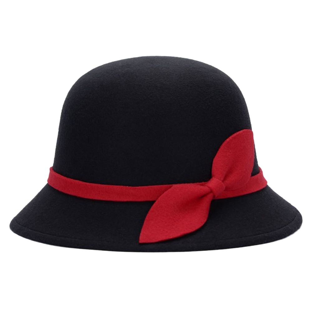 Cute Fashion Ladies Women Faux Wool Felt Bucket Hats Cloche Derby Bowler Cap with Bowknot AIC88