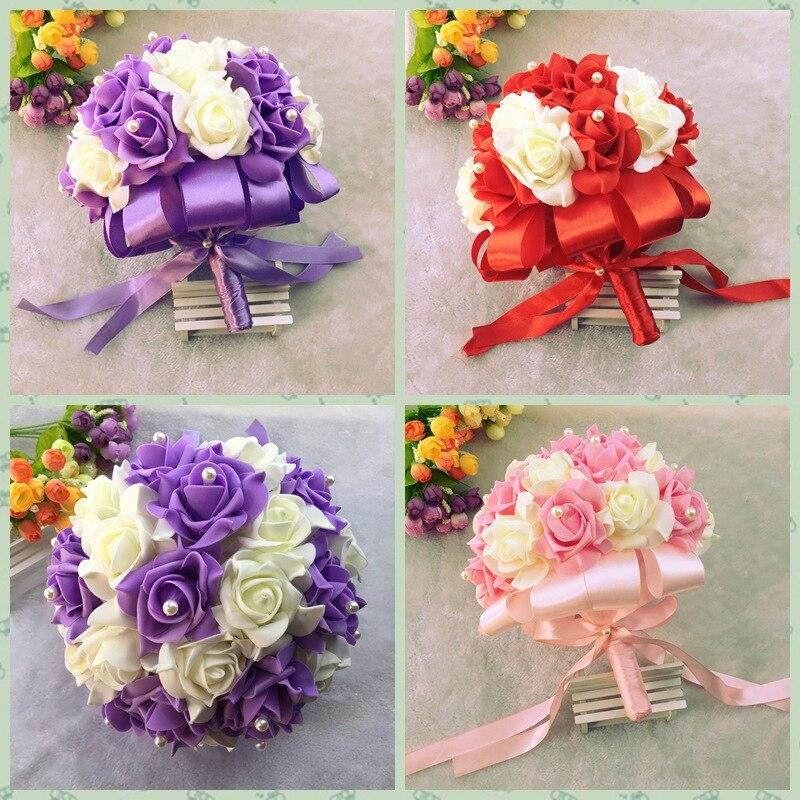 AYiCuthia, flores para novia, recién llegado, ramo de novia colorido de boda romántica, ramo de novia rojo rosa y morado S1