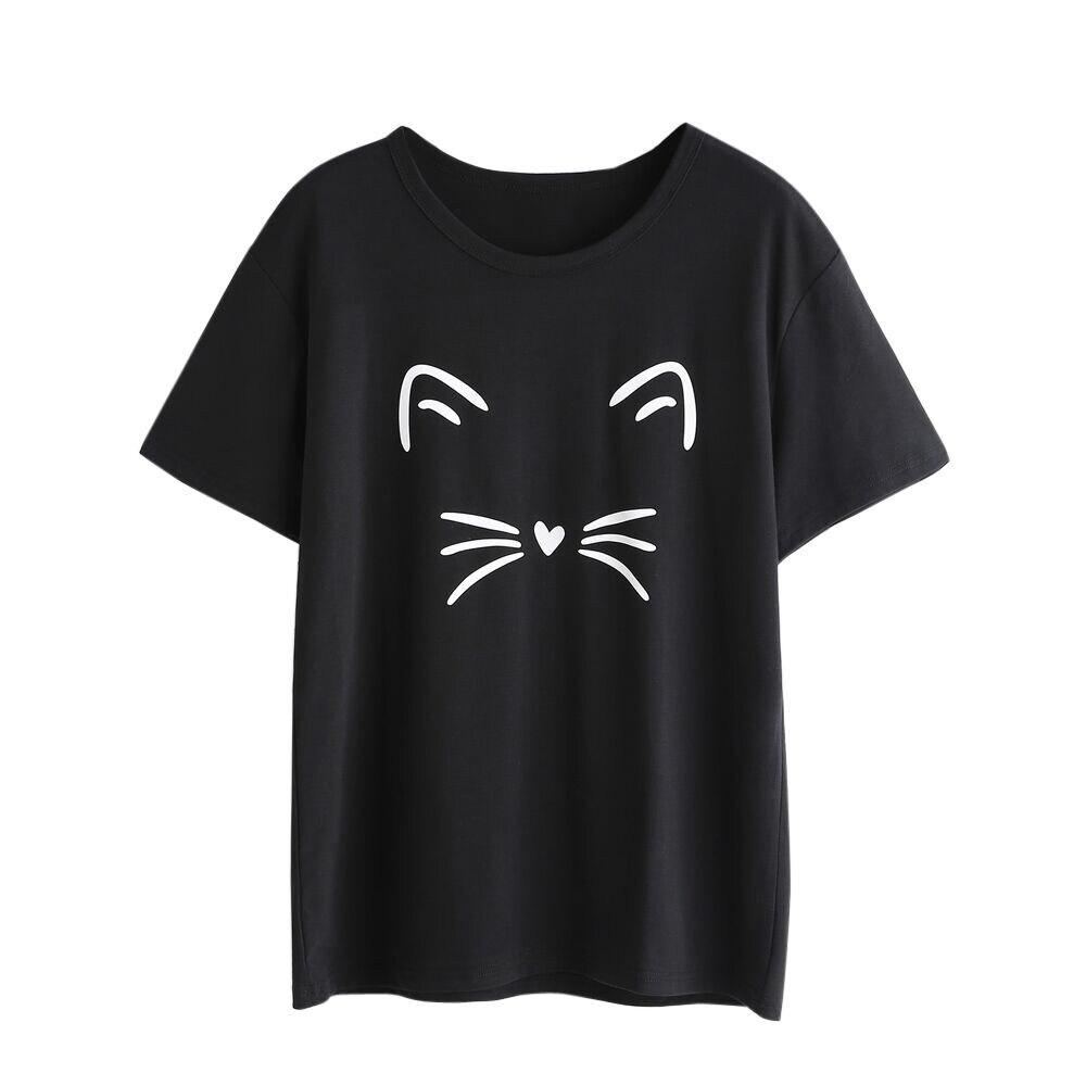 Feminino gato bonito impresso camiseta verão manga curta em torno do pescoço topo senhoras fim de semana casual básico t # yjg